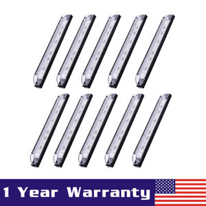 10x 8 Clear Led Utility Strip Car Truck Side Marker Light Waterproof 12v white