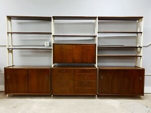 C 1960 S Mid Century Modern Shelving Unit Display Bookshelf Desk Wall Unit