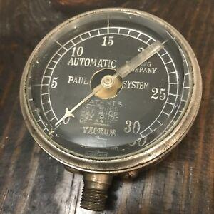 Antique Vtg Standard Gauge Vacuum Gauge Brass Beveld Glass Steampunk Industrial