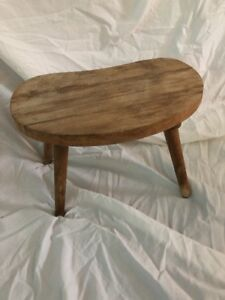 Antique Primitive Wood Milking Stool Bench 4 Leg Chair Kidney Shaped Rustic