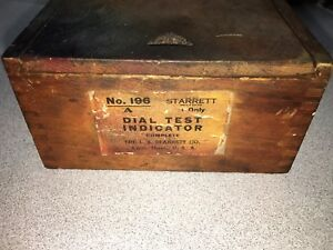 Starrett No 196 Dial Indicator Old Slide Top Box Vintage Tool Free Shipping