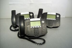 Lot Of 3 Polycom Soundpoint Ip 650 Sip Office Business Phones W Stand Tested