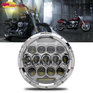 7 Motorcycle Led Chrome Projector Headlight For Harley Touring Fatboy