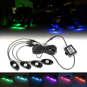 4 Rgb Led Rock Lights Wireless Bluetooth Music Flashing Offroad Multi Color