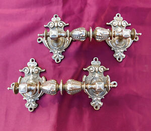 Set Of 2 Large 8 Antique Victorian Ornate Brass Drawer Pulls Solid 2 Pounds