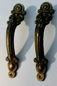 Pair Antique Hardware Brass Cabinet Door Handle Cabinet Pull French Provincial