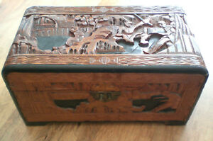 Antique Chinese Carved Camphor Wood Box Thief With Chest Carving