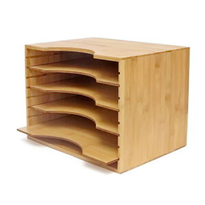 File Organizer Mail Sorter With Four Adjustable Dividers Natural Bamboo Wood Co