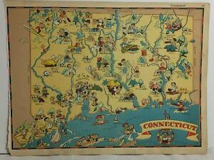 1935 Rare Antique Cartoon Connecticut Vintage Map Usa Gay Geography Pictorial