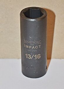 13 16 Inch Armstrong Usa 20 226 1 2 Inch Drive 6 Point Deep Impact Socket