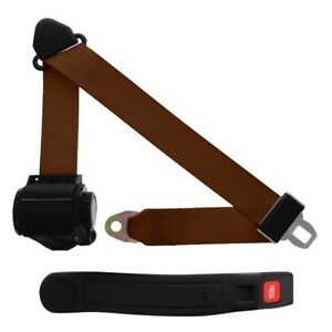 3 Point Retractable Seat Belt With Sleeve Brown