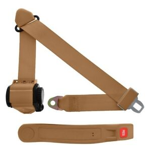 3 Point Retractable Seat Belt With Sleeve Tan