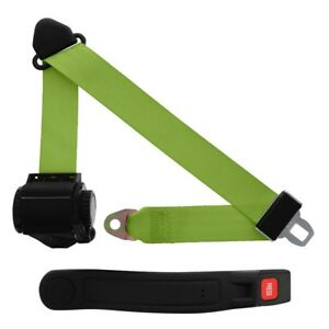 3 Point Retractable Seat Belt With Sleeve Lime Green