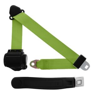 3 Point Retractable Seat Belt With Starburst Sleeve Lime Green