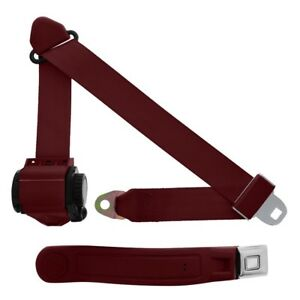 3 Point Retractable Seat Belt With Starburst Sleeve Maroon