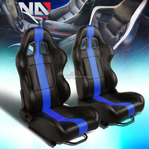 Black vertical Blue Stripe Reclinable Pvc Leather Type r Racing Seats W sliders