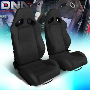 Pair Lh Rh Side Black Suede Fully Reclinable Sport Racing Seats Universal Slider