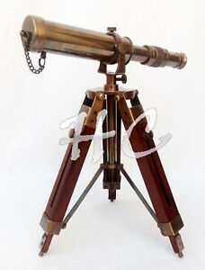 Beautiful Vintage Antique Brass Telescope W Wooden Tripod Stand Christmas Offer