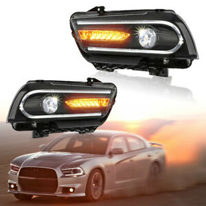 Headlight For Dodge Charger 11 14 W Drl Led Sequential Indicator Dual Beam Lens