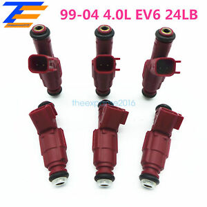 Set Of 6 Fuel Injector 12 Hole Nozzle For Jeep Cherokee 99 04 4 0l Ev6 24lb