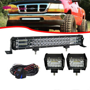 22inch Curved Cree Led Work Light Bar Spot flood wire Combo 4x4wd Jeep Ford Atv