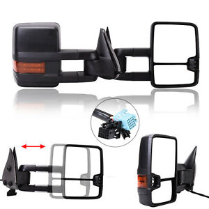 Left right For 03 06 Chevy Silverado Sierra Power heated led Signal Tow Mirrors