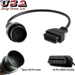 Obd2 38 To 16 Pin Adaptor Diagnostic Lead Scanner Cable For Mercedes Benz