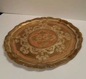 Vintage Florentine Italy Toleware Wood 13 5 Tray Round Pink White Gold Patina