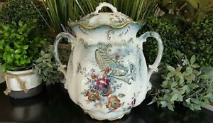 Antique Porcelain Bath Chamber With Lid Rare Utopia A J Wilkinson Royal Pottery