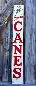Xlarge 4ft Rustic Primitive Wood Sign Candy Canes Christmas Porch Holiday Winter