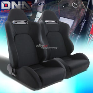 Full Reclining Black Type R Cloth Fabric Bucket Racing Seats Mount Silders Rail