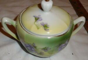 Vintage Germany Tilowitz Sugar Bowl With Lid Flowers Purple And Green Color