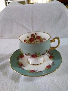 Rosina Bone China Cup Saucer Mint Green And White