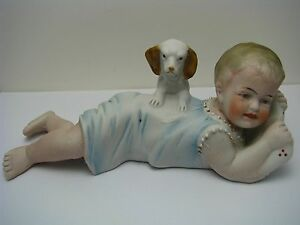 Bisque Figurine Baby Girl Dog Piano Baby Porcelain Figures Germany Ca1900s