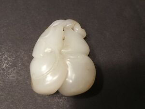 Antique Chinese Hetian White Jade Pendant With Double Gourds 2 L 18th Century