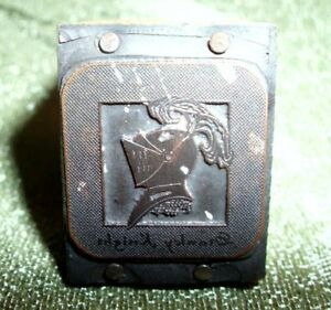 Small Vintage Knights Head Wood Metal Letterpress Print Block Stamp Old
