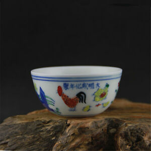 3 2 Collect Old China Doucai Porcelain Chicken Painted Bowl Teapot Cup