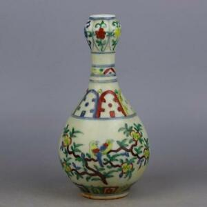 8 Collect Old Ancient China Doucai Porcelain Bird Painted Flower Vase Bottle