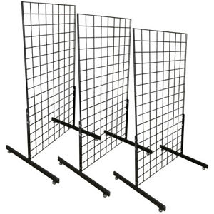 3 Gloss Black Gridwall Panel 4 Ft Tall Wire Grid Shelving Board T leg Retail