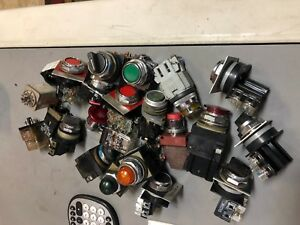 Lot Of Push Buttons Pilot Lights Selector Switch Relays Ge Telemecanique More