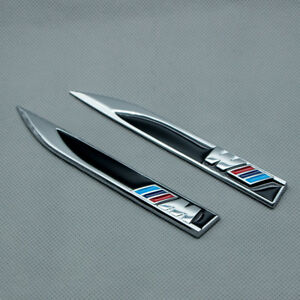 2pcs M Logo Side Fender Sport Emblem Metal M Power Knife Badge For M3 M5 M6