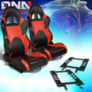 Pair Woven Fabric Fully Reclinable Racing Seat bracket Fit 79 98 Ford Mustang
