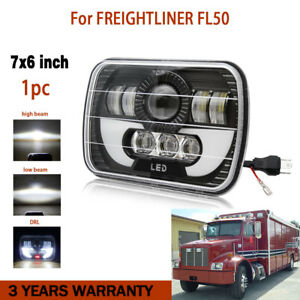 6x7 Inch Led Headlight Black Drl Bulbs Hi low Beam For Freightliner Fl50 Truck