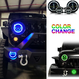 7 Rgb Led Halo Headlights Fog Light Combo Kit For Jeep Wrangler Jk 2007 2017