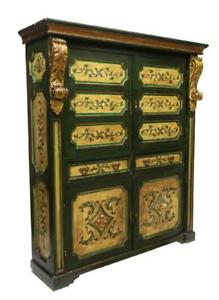 Large Spanish Parcel Gilt Painted Cupboard Cabinet Vintage Antique