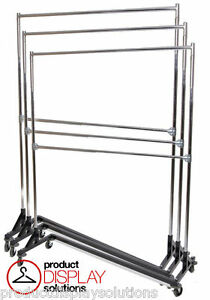 Adjustable Height Double Rail Commercial Grade Display Z Rack Black Base