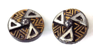 2 Small 5 8 In Victorian Black Glass Buttons Coper Silver Luster Design