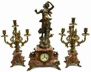 Elegant French Figural Marble Mantel Clock Set Early 1900s