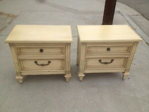 Vintage Pair Distressed Painted Country French Night Stands