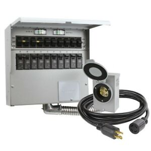 Manual Transfer Switch Kit 10 circuit 30 Amp With 10 Ft Generator Cord
